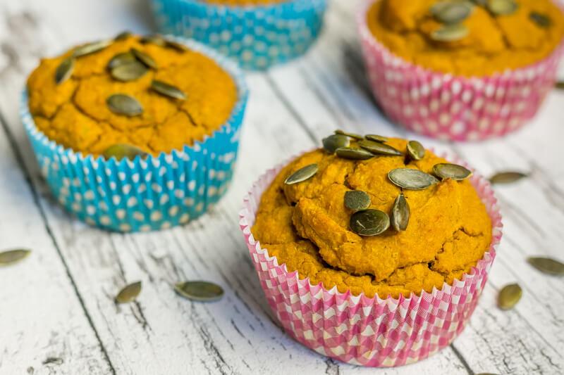 Saftige vegane Kürbis Muffins - einfach und gesund