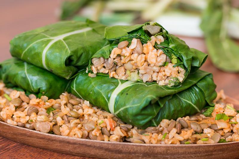 Einfaches Mangold Rezept: Vegane Wraps mit Linsen-Reis-Füllung