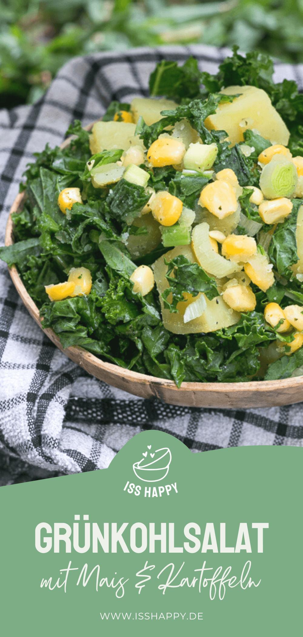 Einfacher veganer Grünkohlsalat mit (Süß-)Kartoffeln & Mais