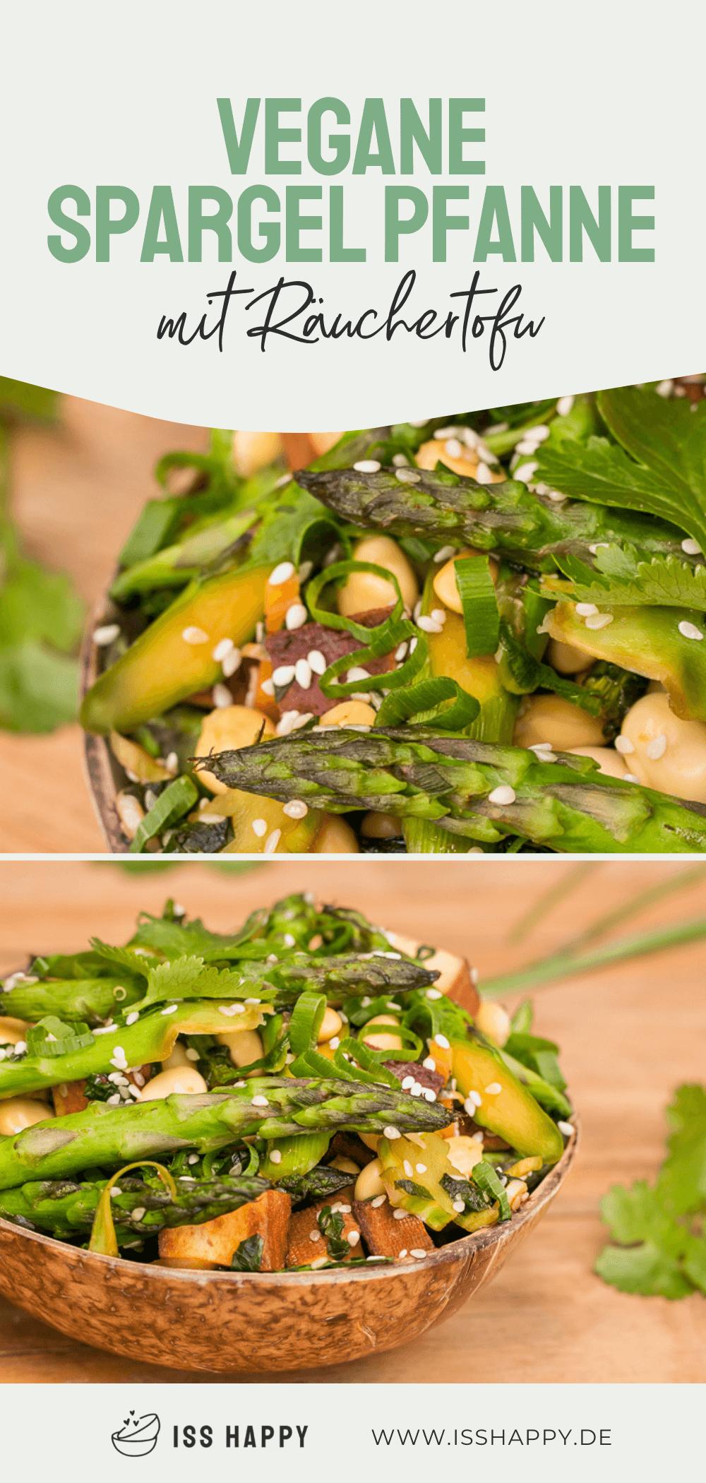 Grüne Spargel Pfanne mit Brokkoli und Räuchertofu - vegan & lecker